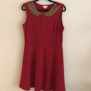 Maison Jules Red beaded collar tank dress